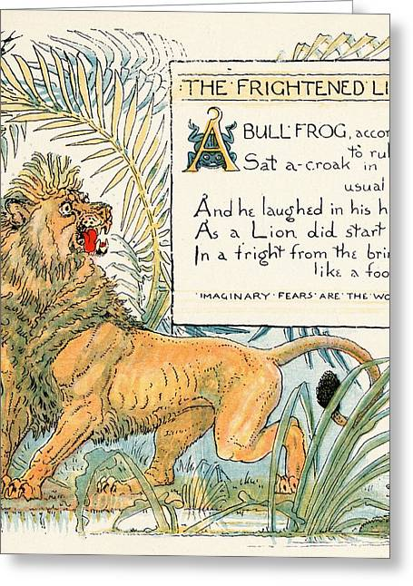 Moral Greeting Cards - The Frightened Lion From The Book Babys Greeting Card by Vintage Design Pics