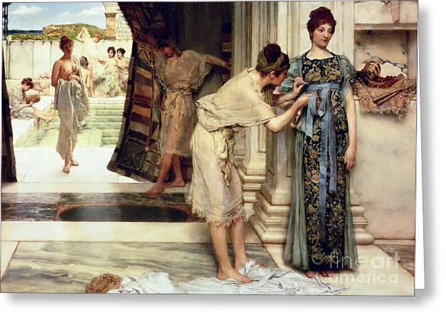 The Frigidarium Greeting Card by Sir Lawrence Alma-Tadema