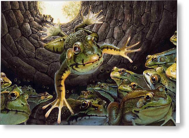 Storybook Greeting Cards - The Frog and the Well Greeting Card by Denny Bond