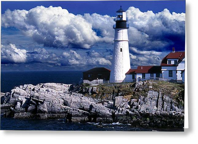 Photos Of Lighthouses Greeting Cards - The Front At Portland Head Greeting Card by Skip Willits