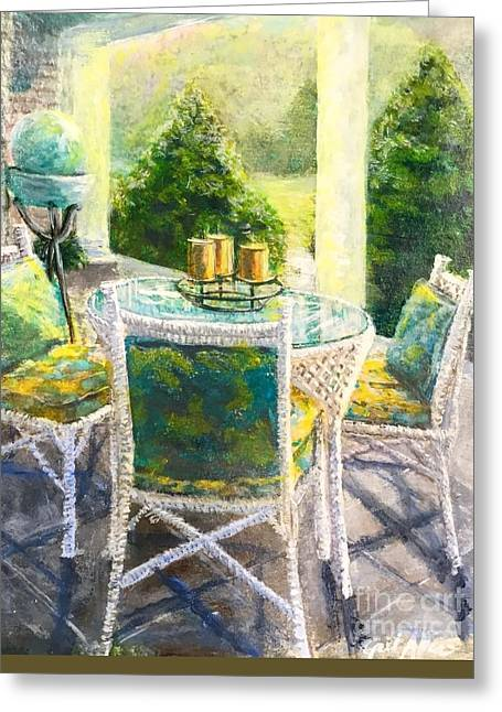Interior Scene Greeting Cards - The Front Porch Greeting Card by Gail Allen