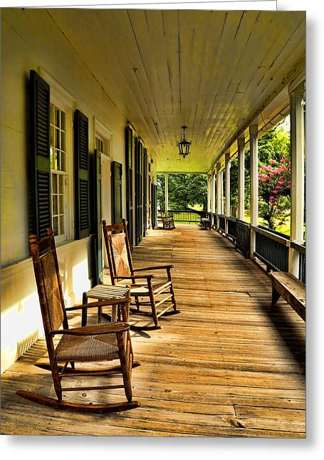 Historic Home Greeting Cards - The Front Porch Greeting Card by Judy Vincent