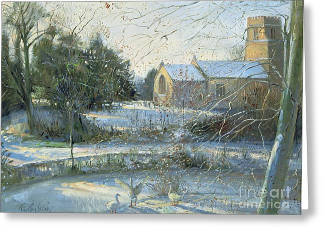 Suffolk Greeting Cards - The Frozen Moat - Bedfield Greeting Card by Timothy Easton