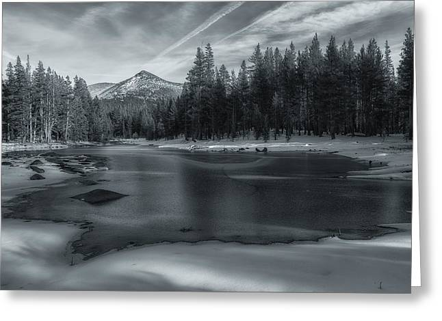 Snow Scene Landscape Greeting Cards - The Frozen Pond Greeting Card by Jonathan Nguyen