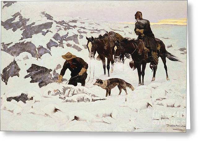 Concept Paintings Greeting Cards - The Frozen Sheepherder Greeting Card by Frederic Remington