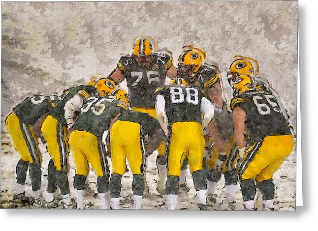 Lambeau Field Paintings Greeting Cards - The Frozen Tundra Green Bay Greeting Card by John Farr