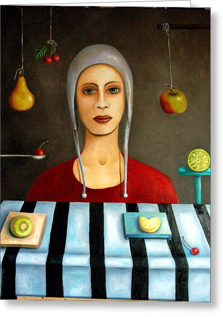 Surreal Humor Greeting Cards - The Fruit collector Greeting Card by Leah Saulnier The Painting Maniac