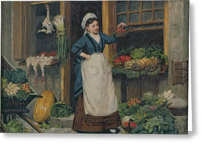 French Door Greeting Cards - The Fruit Seller Greeting Card by Victor Gabriel Gilbert