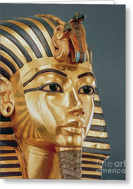Funeral Greeting Cards - The funerary mask of Tutankhamun Greeting Card by Unknown