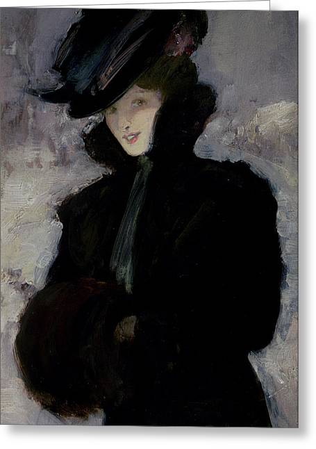 Blizzard Scenes Greeting Cards - The Fur Coat Greeting Card by Bessie MacNicol