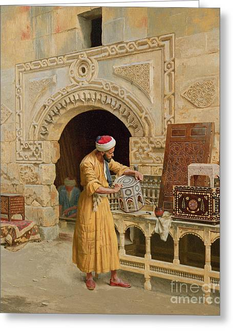 Muslim Greeting Cards - The Furniture Maker Greeting Card by Ludwig Deutsch