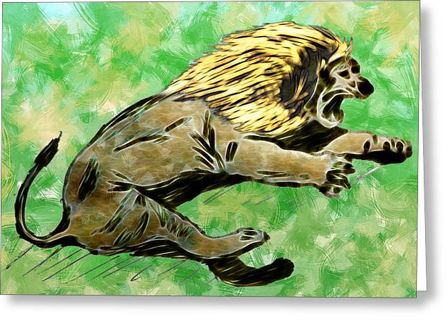 Pictures Of Cats Greeting Cards - The Fury of The King Greeting Card by Carlos Vieira