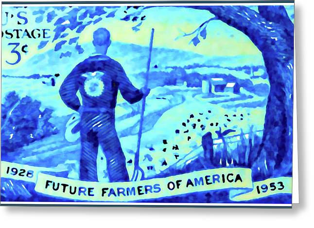 1950s Portraits Greeting Cards - The Future Farmers of America stamp Greeting Card by Lanjee Chee