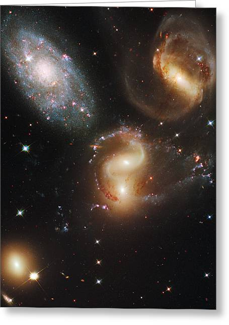 Planet Earth Greeting Cards - The Galaxies Of Stephans Quintet Greeting Card by Nasa/Esa