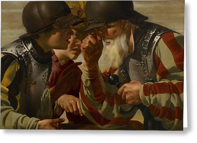 Spade Greeting Cards - The Gamblers Greeting Card by Hendrick Ter Brugghen