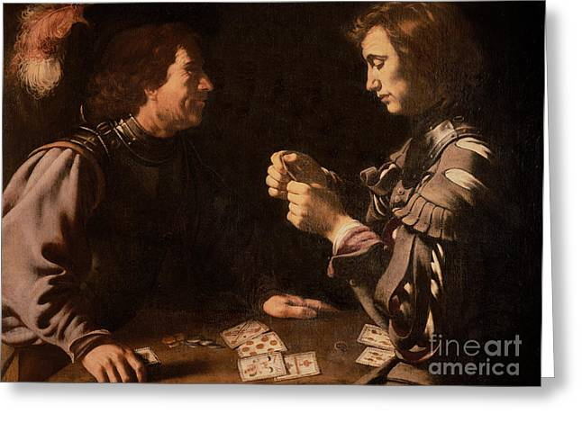 Plumed Greeting Cards - The Gamblers Greeting Card by Michelangelo Caravaggio