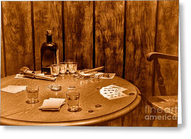 The Gambling Table - Sepia Greeting Card by Olivier Le Queinec