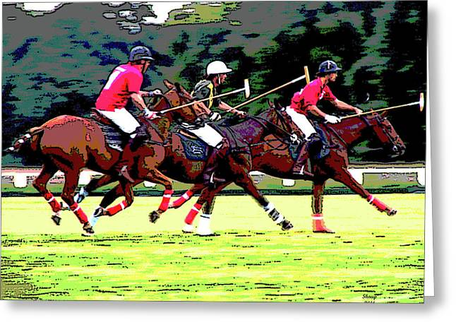 The Game Of Kings Polo Greeting Card by Charles Shoup