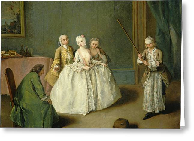 Table Cloth Greeting Cards - The Game Of The Cooking Pot Greeting Card by Pietro Longhi