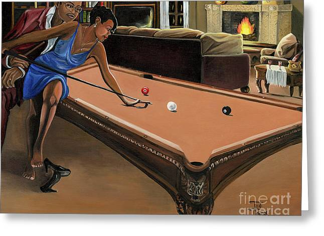 Billiard Greeting Cards - The Game Greeting Card by Toni  Thorne