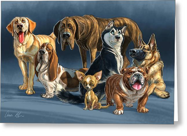 German Shepherd Greeting Cards - The Gang 2 Greeting Card by Aaron Blaise
