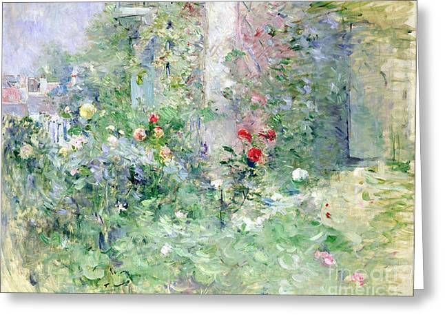 Berthe (1841-95) Greeting Cards - The Garden at Bougival Greeting Card by Berthe Morisot