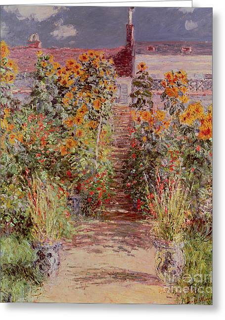 In Bloom Paintings Greeting Cards - The Garden at Vetheuil Greeting Card by Claude Monet
