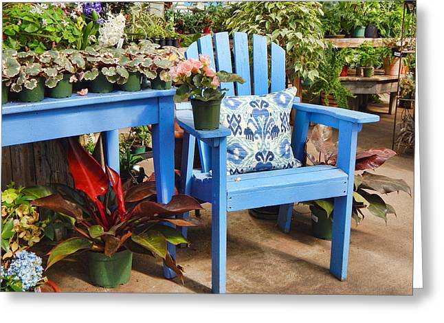 Lawn Chair Greeting Cards - The Garden Chair Greeting Card by Joanne Shedrick