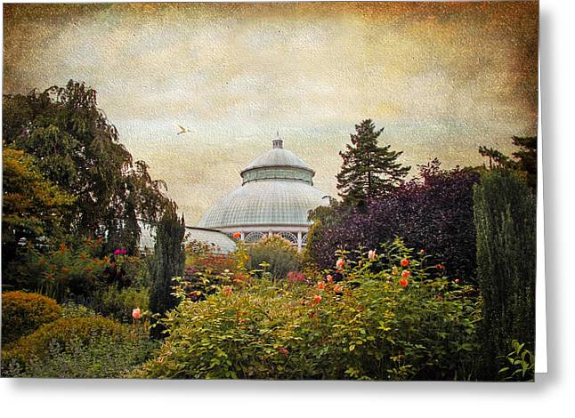 Structures Greeting Cards - The Garden Conservatory Greeting Card by Jessica Jenney