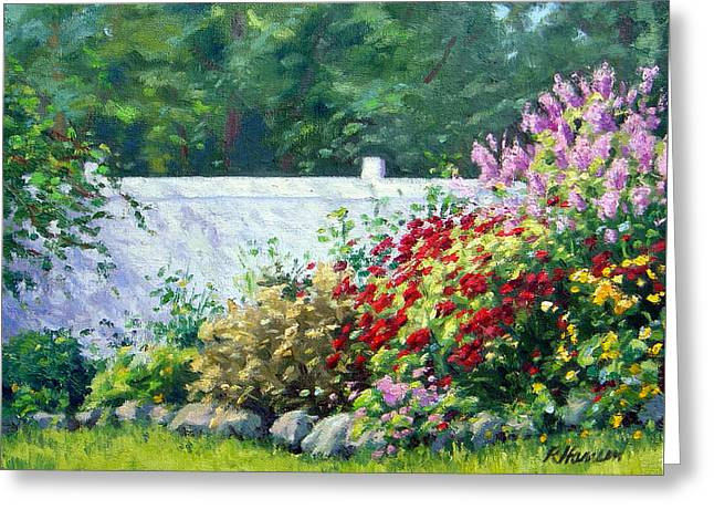 Park Scene Paintings Greeting Cards - The Garden Fence Greeting Card by Rick Hansen
