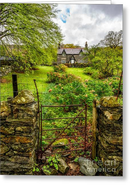Entrance Door Greeting Cards - The Garden Gate Greeting Card by Adrian Evans