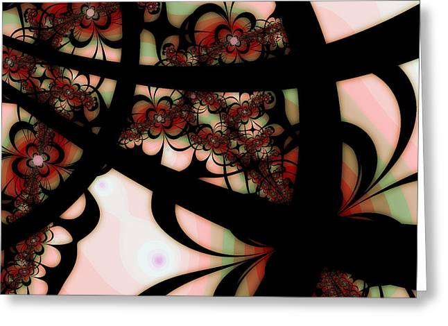 Modern Digital Art Digital Art Greeting Cards - The Garden Gate Greeting Card by Bonnie Bruno