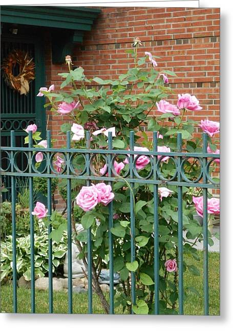 Roze Greeting Cards - The Garden Gate Greeting Card by Carolyn Quinn
