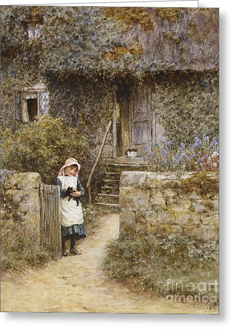 Cottage Greeting Cards - The Garden Gate Greeting Card by Helen Allingham