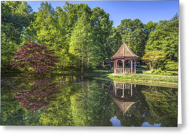 Pond In Park Greeting Cards - The Garden Gazebo Greeting Card by Debra and Dave Vanderlaan