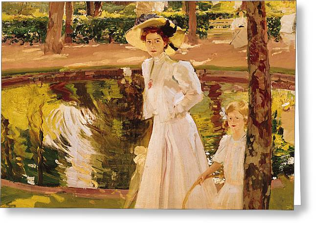Le Jardin Greeting Cards - The Garden Greeting Card by Joaquin Sorolla y Bastida