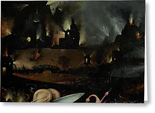 The Garden Of Earthly Delights, Detail Of Right Panel Showing Hell Greeting Card by Hieronymus Bosch