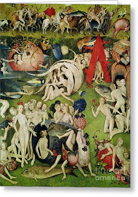 Le Jardin Greeting Cards - The Garden of Earthly Delights Greeting Card by Hieronymus Bosch