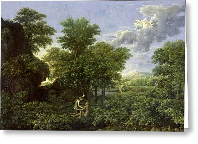 Poussin; Nicolas (1594-1665) Greeting Cards - The Garden of Eden Greeting Card by Nicolas Poussin