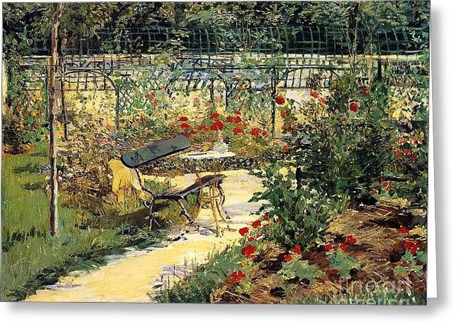 Manet Greeting Cards - The Garden of Manet Greeting Card by Edouard Manet