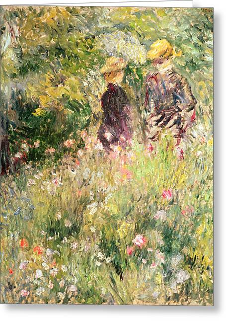 Le Jardin Greeting Cards - The Garden of Roses Greeting Card by Pierre Auguste Renoir