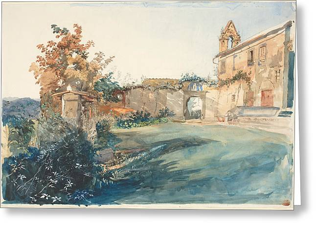 Fall Grass Drawings Greeting Cards - The Garden Of San Miniato Near Florence Greeting Card by John Ruskin