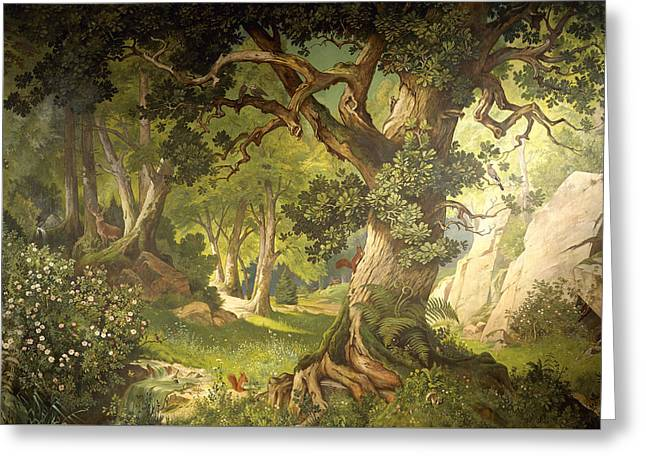 The Garden Of The Magician Klingsor, From The Parzival Cycle, Great Music Room Greeting Card by Christian Jank