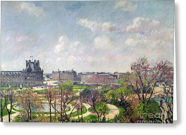 Maze Greeting Cards - The Garden of the Tuileries Greeting Card by Camille Pissarro