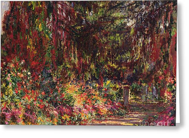 The Garden Path At Giverny Greeting Card by Claude Monet