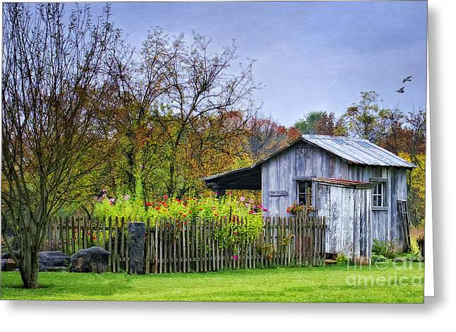 Sheds Greeting Cards - The Garden Shed Greeting Card by Priscilla Burgers