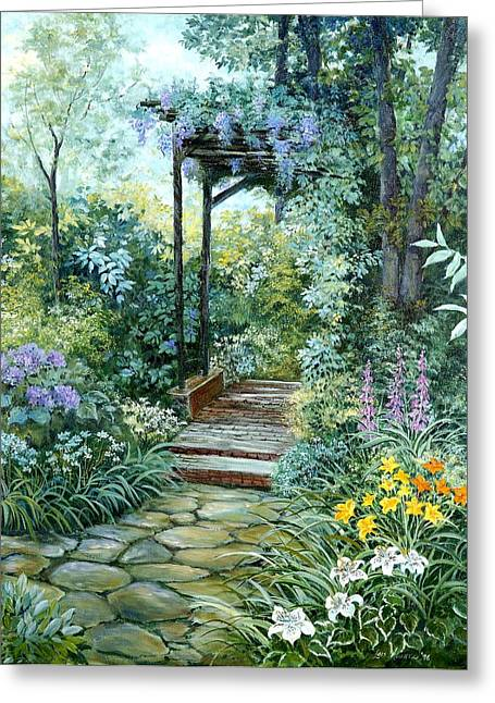 Trellis Greeting Cards - The Garden Triptych Right Side Greeting Card by Lois Mountz