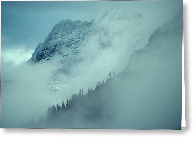 Timberline Greeting Cards - The Garden Wall Veiled By Clouds Greeting Card by Michael S. Quinton