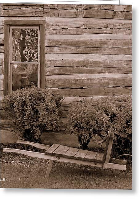 Cabin Window Greeting Cards - The Gardener Greeting Card by Ed Smith