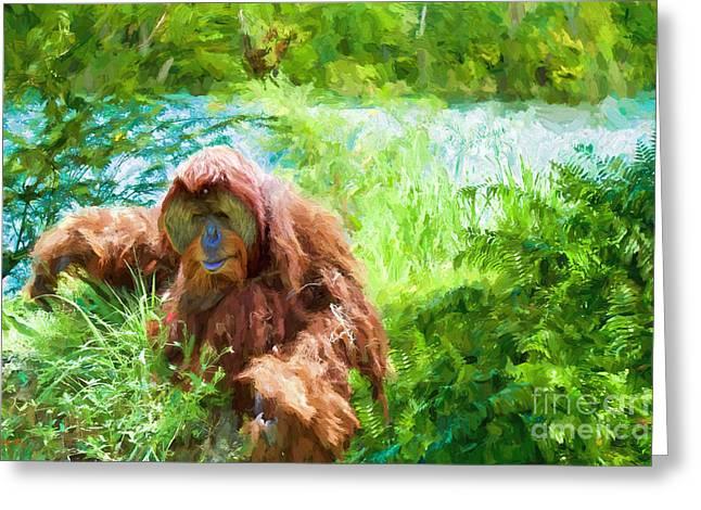 Rain Paintings Greeting Cards - The Gardener Greeting Card by Judy Kay